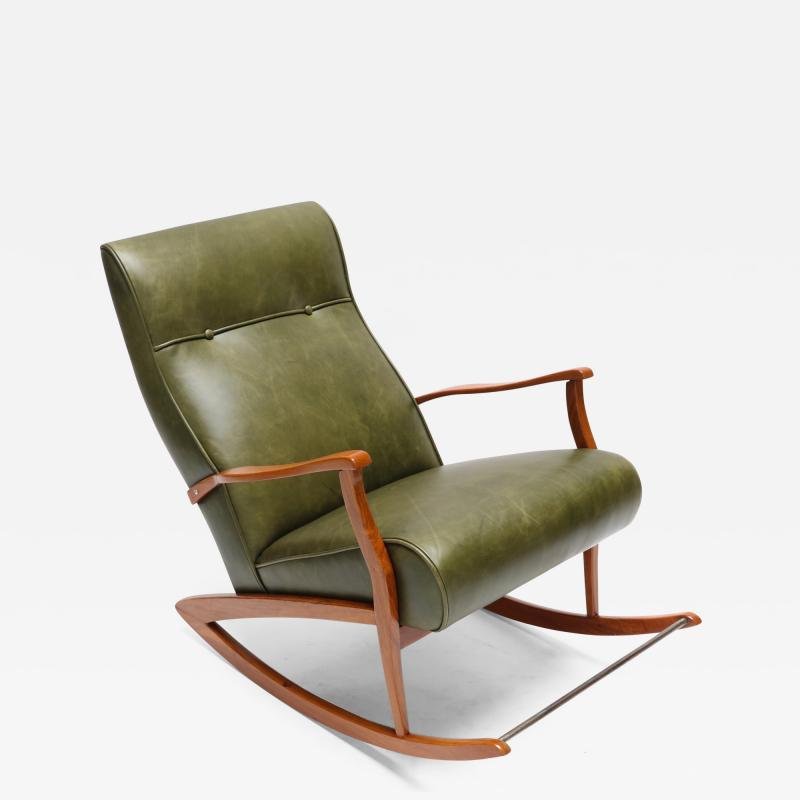 1960s Brazilian Rocking Chair in Green Leather