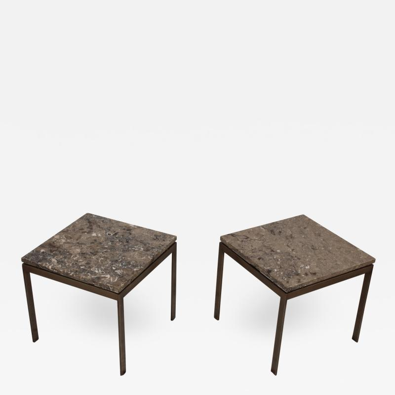 1960s Bronze And Marble Custom Made Side Tables By Cumberland