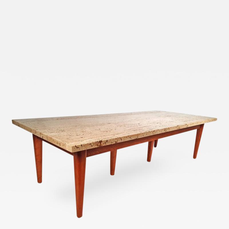 1960s Custom Rectangular Travertine Mahogany Cocktail Table