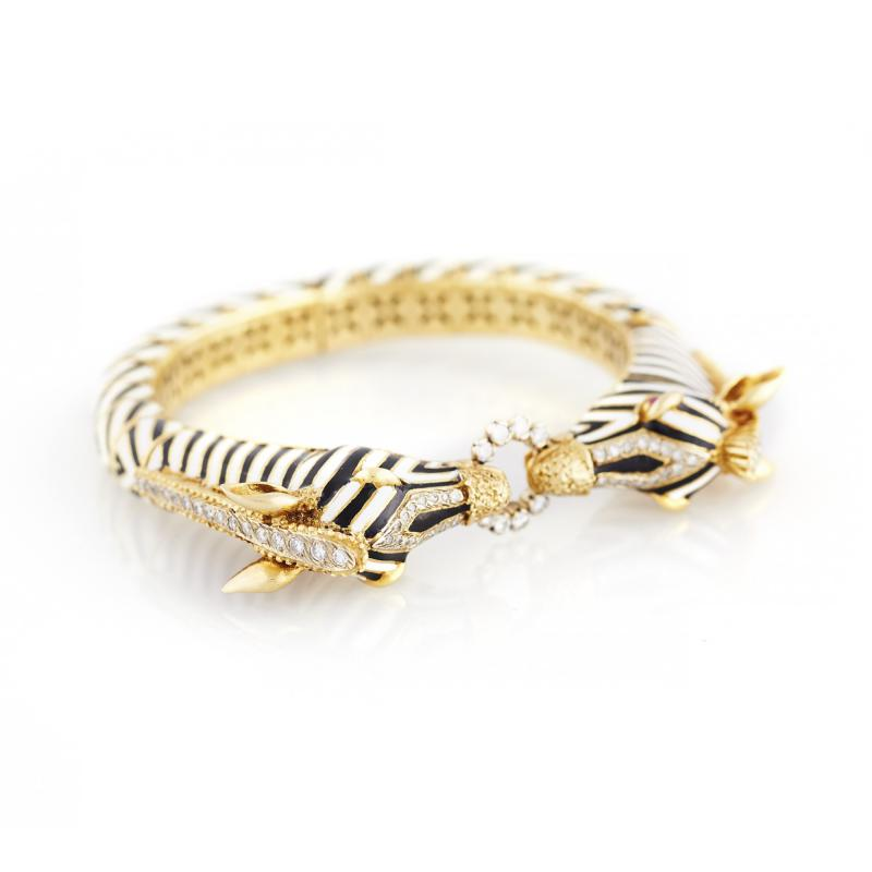 1960s Enamel and Diamond Corletto Zebra Bracelet