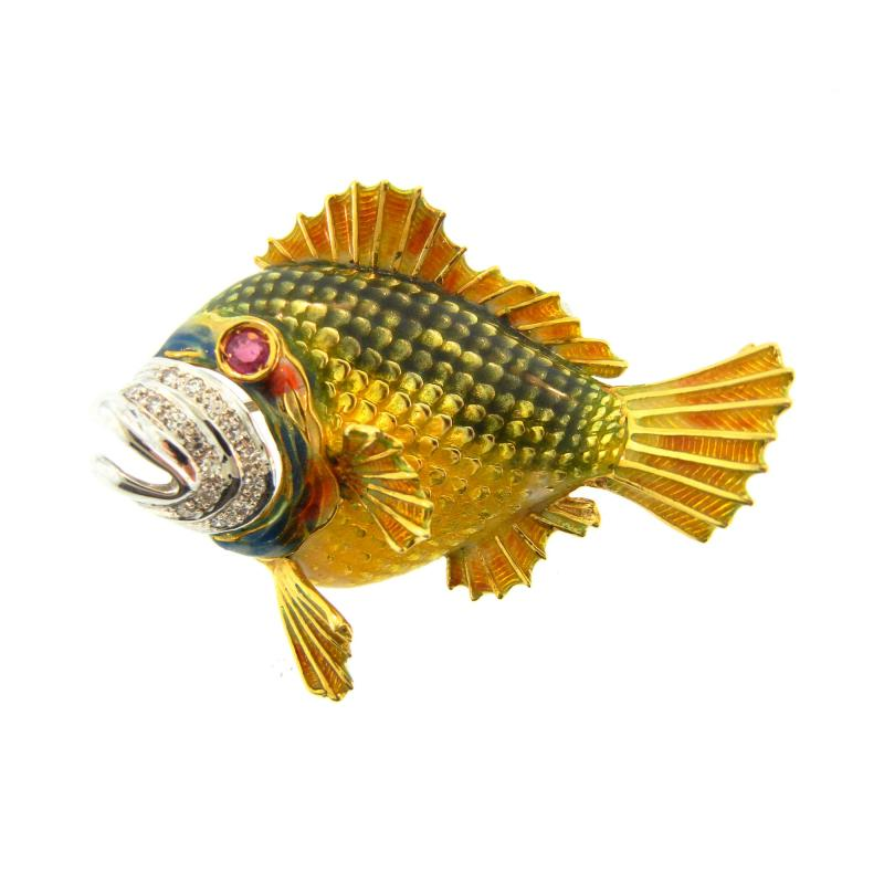 1960s Enamel and Diamond Fish Brooch