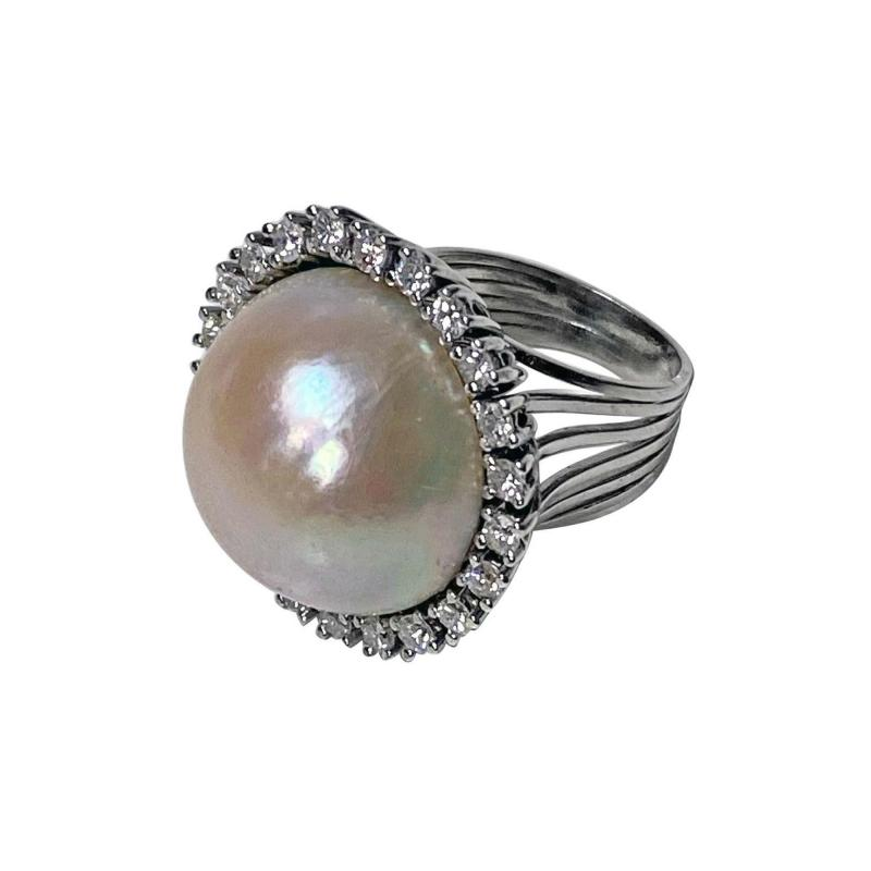 1960s French 18 Karat Mabe Pearl and Diamond Ring
