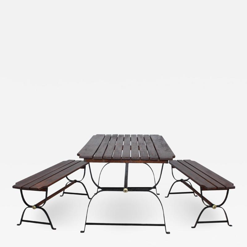 1960s French Style Indoor Outdoor Dining Table With Matching Benches