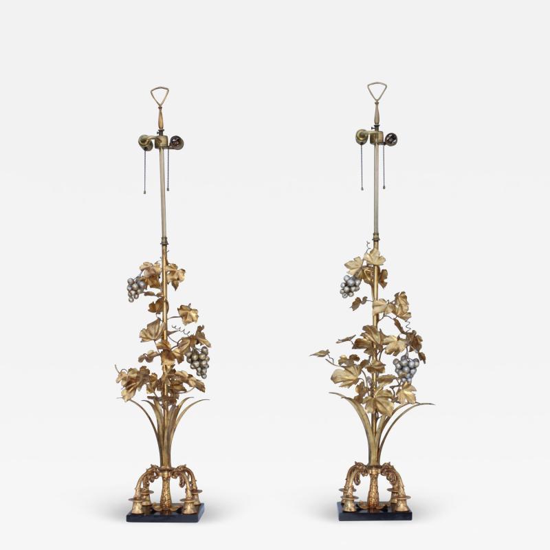 1960s Grape Vine Gilt Tall Table Lamps