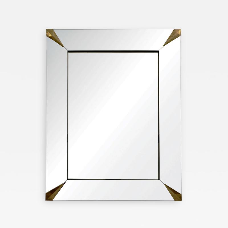 1960s Italian Vintage Minimalist Black Glass Brutalist Brass Wall Mirror