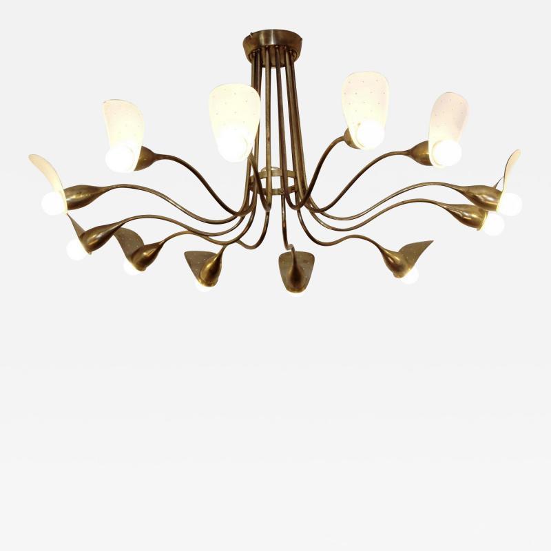 1960s Italian chandelier in polished brass