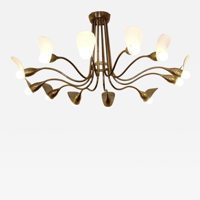 1960s Italian chandelier in polisned brass