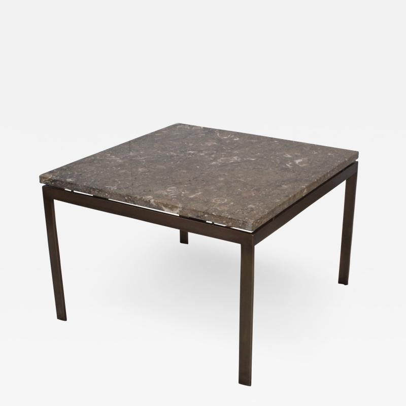1960s Mid Century Modern Bronze And Marble Custom Made Coffee Table