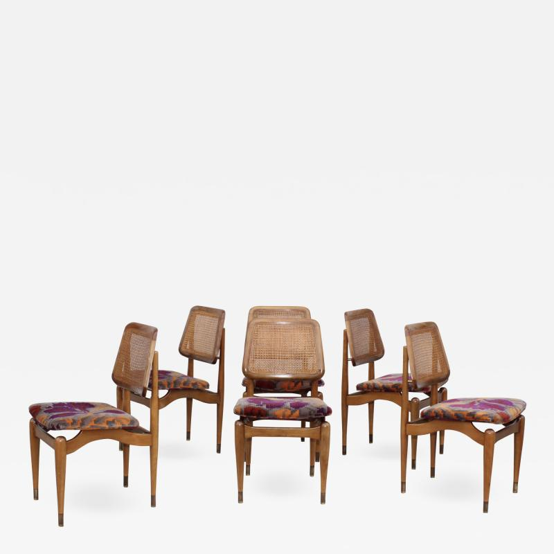 1960s Modern Dining Chairs With Jack Lenor Larsen Fabric