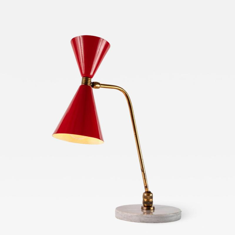 1960s Red Double Cone Table Lamp in the Manner of Pierre Guariche
