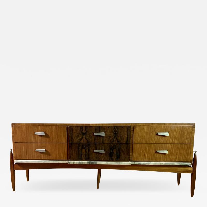 1960s Satinwood Rosewood Marble Credenza American Modern