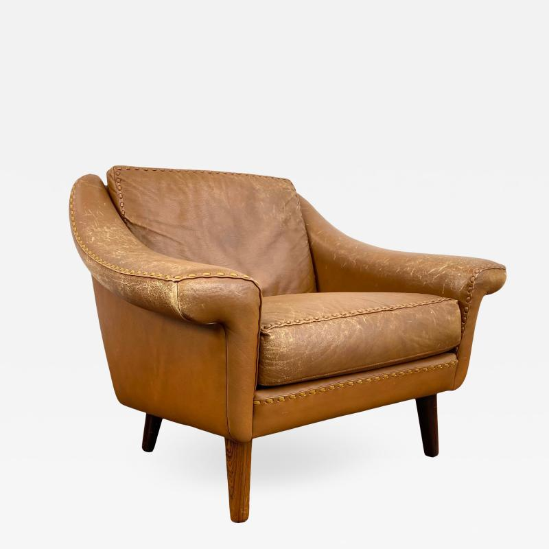 1960s Vintage Aage Christiansen Danish Leather Lounge Chair