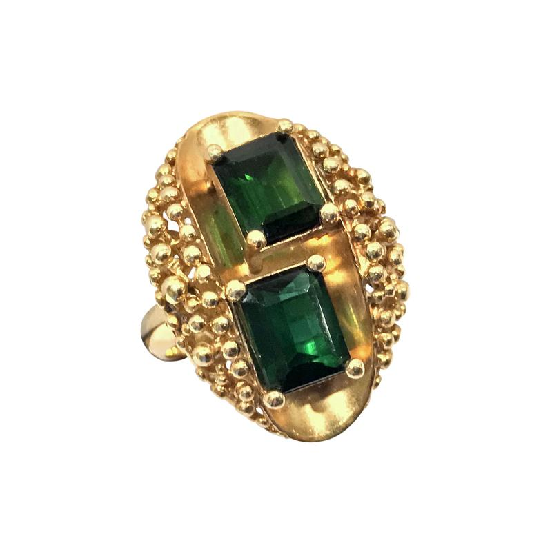 1970 s 18K Abstract Tourmaline Ring