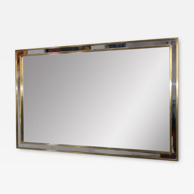 1970 s Modern Chrome And Brass Italian Mirror