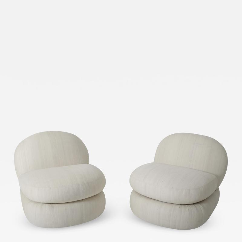 1970 s Stacked Pouf Slipper Chairs