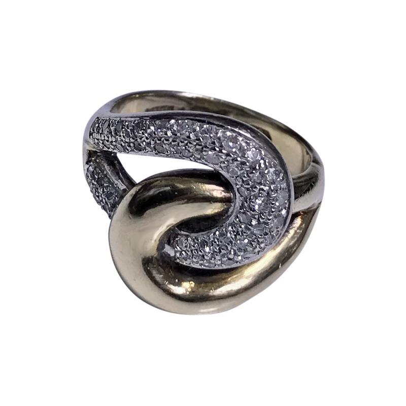 1970s 14K Yellow and White Gold Diamond Twist Ring