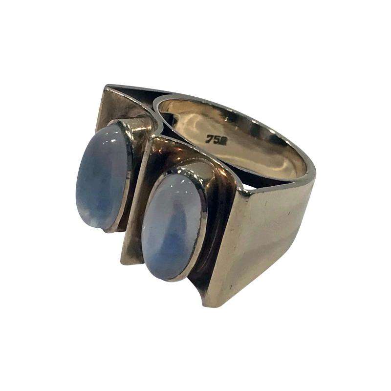 1970s 18K Moonstone Abstract Ring