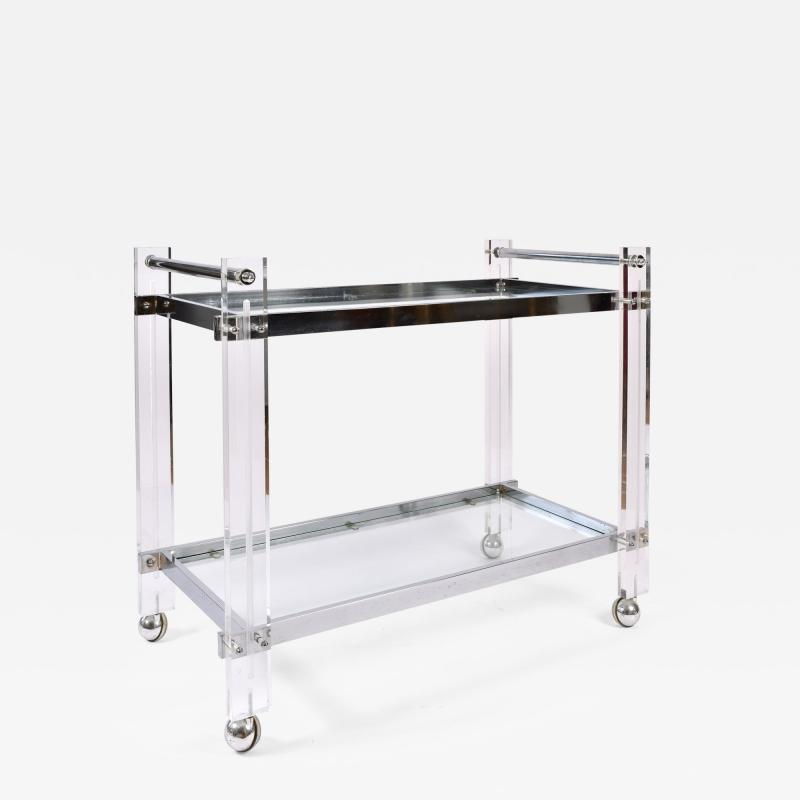 1970s American chrome and Lucite drinks serving trolley