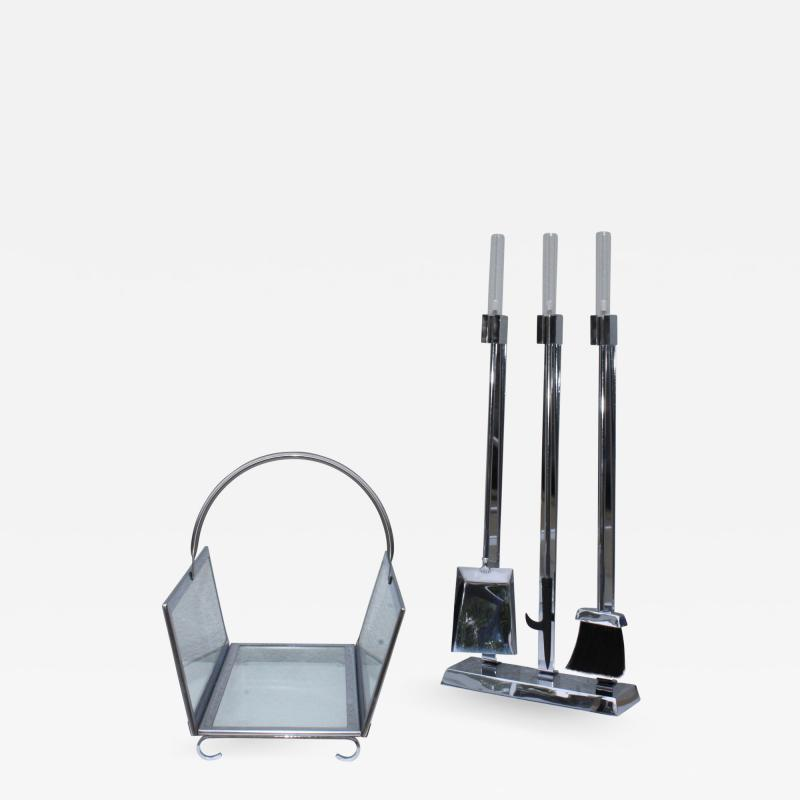 1970s Lucite Chrome Fireplace Tools And Log Holder