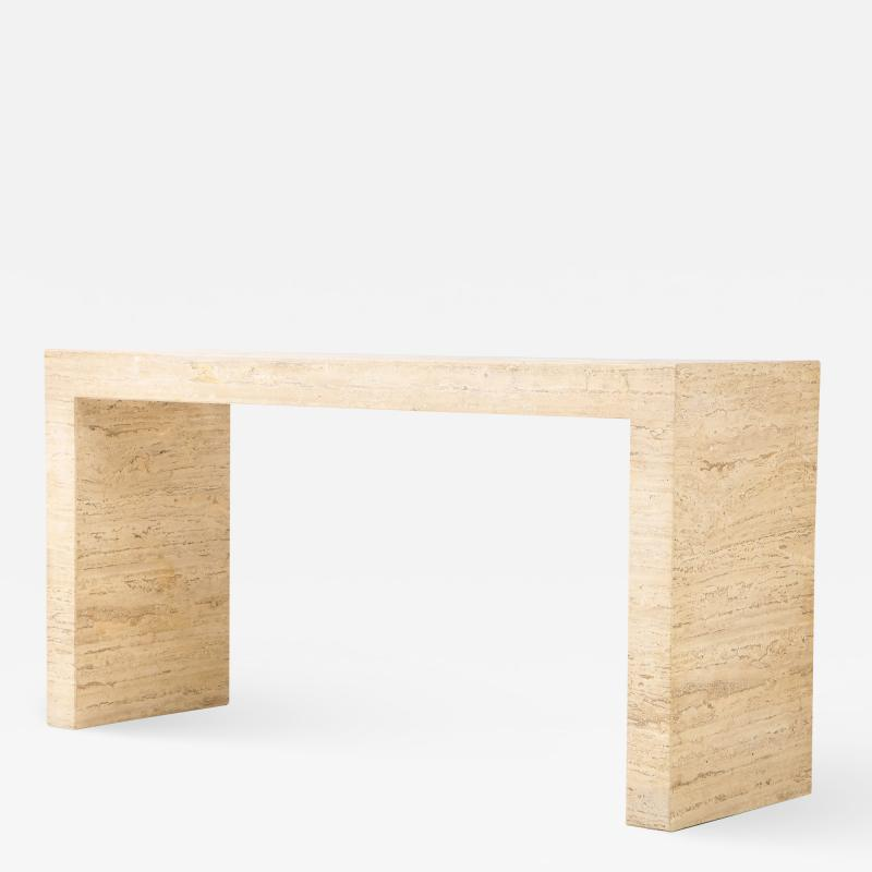1970s Minimalist Travertine Console
