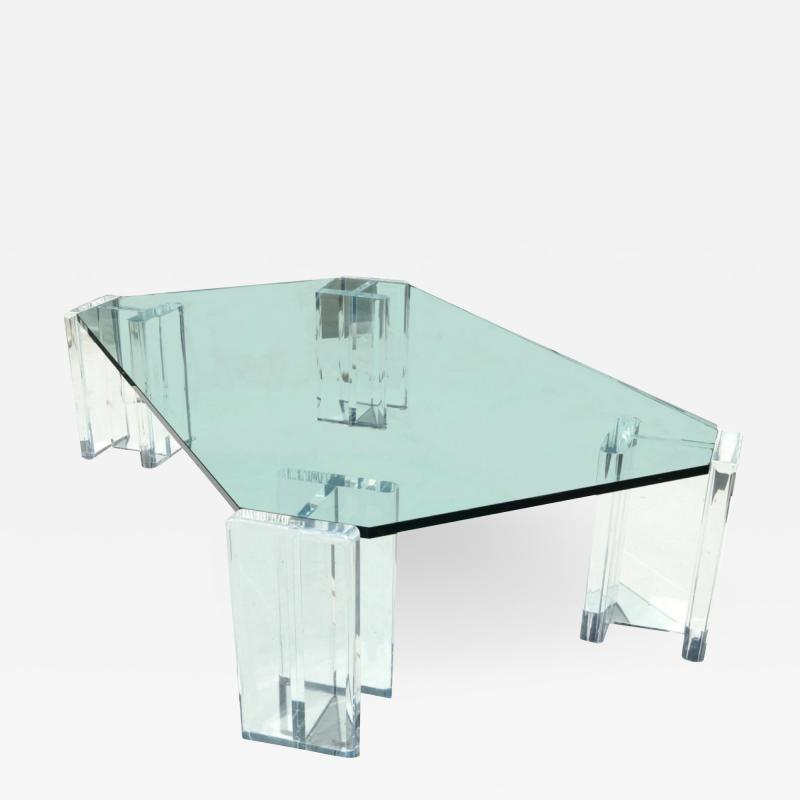 1970s Modern Hollywood Regency Contemporary Lucite Glass Top Coffee Table