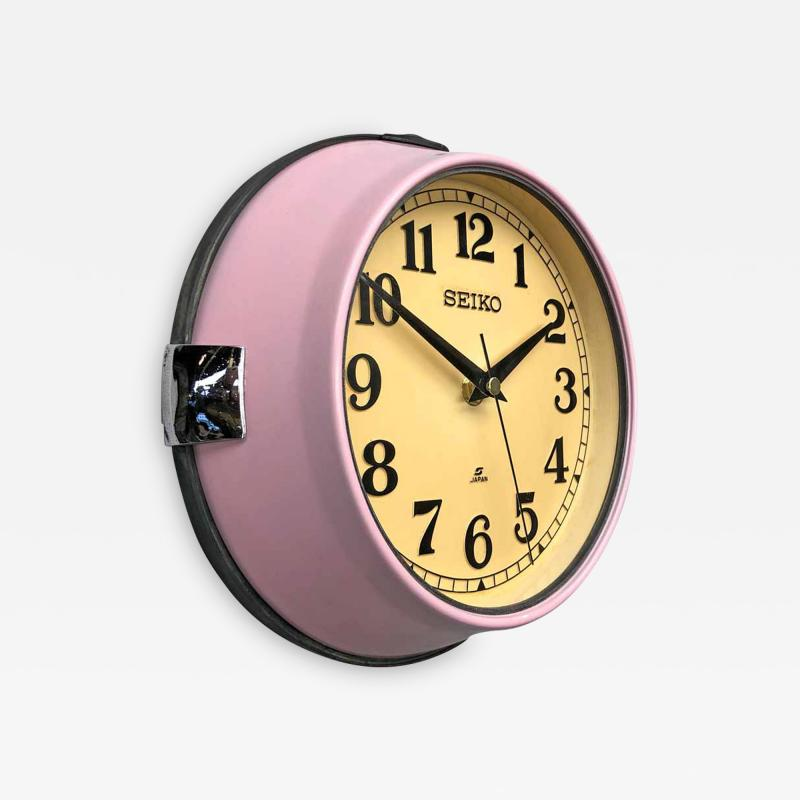 1970s Seiko Retro Vintage Industrial Antique Steel Quartz Wall Clock Pink