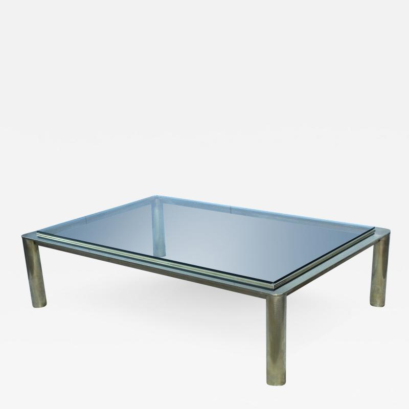 1970s Solid Brass With Glass Top Large Modern Coffee Table