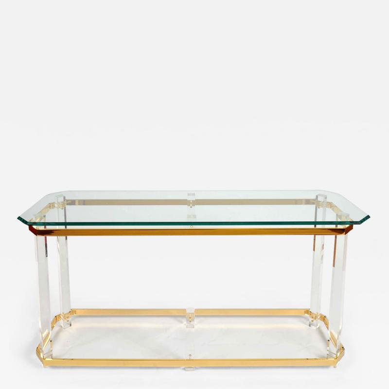 1970s US lucite and brass console table