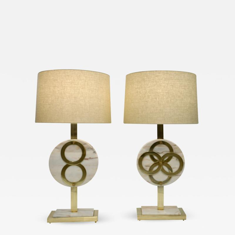 1970s Vintage Italian Pair of Modern Design Brass and Pink Carrara Marble Lamps