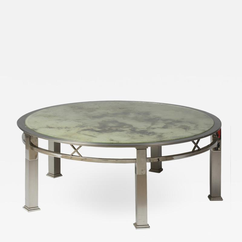 1970s round coffee table in chrome and glass
