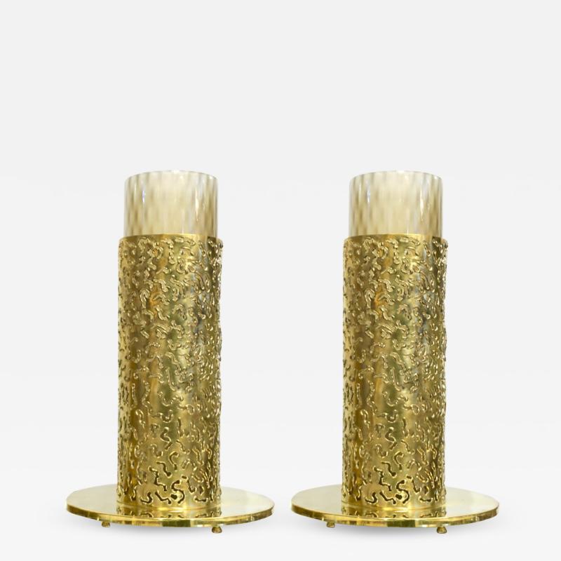 1980 Italian Brutalist Pair of Cream Beige Murano Glass Round Brass Table Lamps