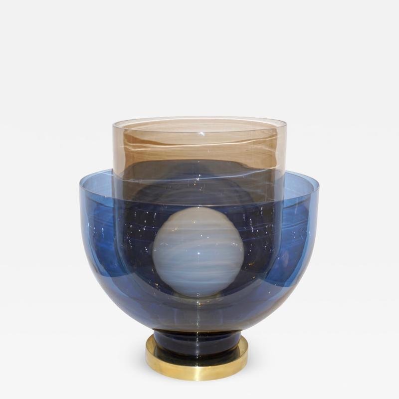1980 Italian Monumental Blue Smoked Gray Murano Glass Modern Lamp Floor Lamp