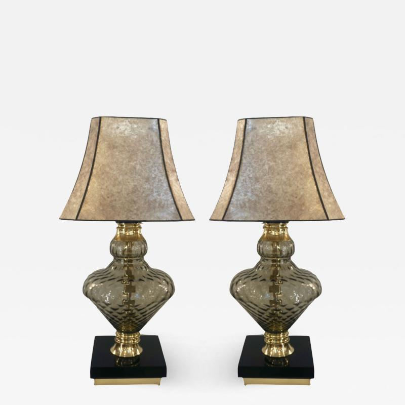 1980 Italian Vintage Pair of Smoked Murano Glass Lamps with Black Brass Accent