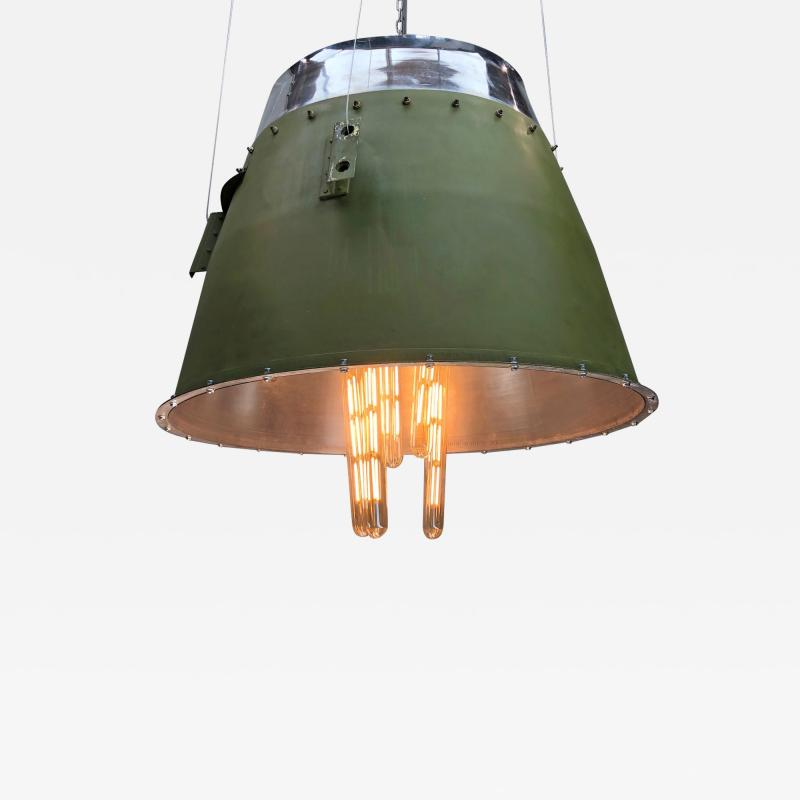 1980s Canadian Bombardier Jet Engine Cowling Green Industrial Pendant Light