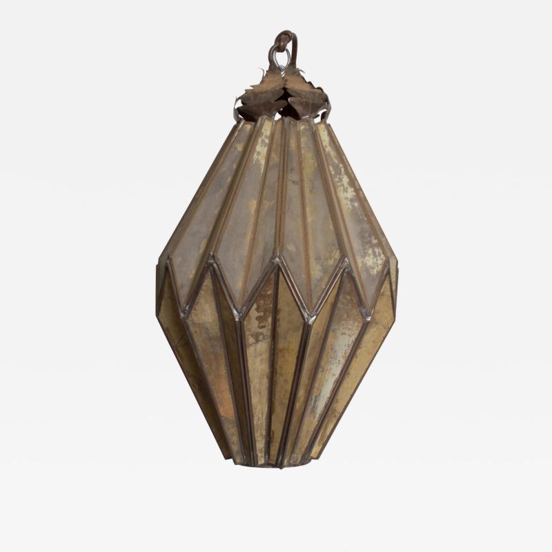1980s Prism Drop Pendant Lamp Eglomise Sculptural Steel Mexico Vintage