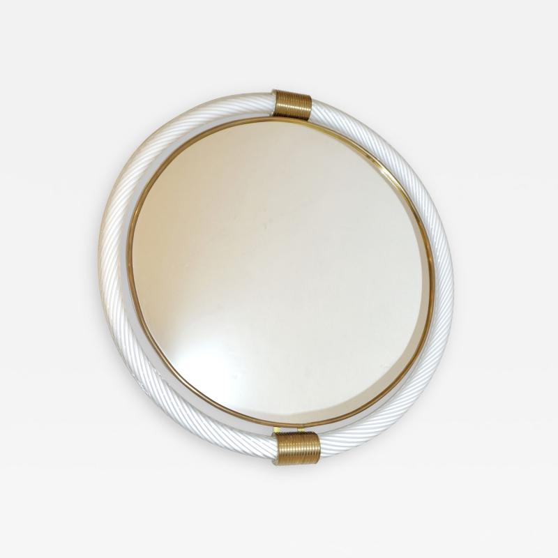1990s Barovier Italian Milk White Twisted Murano Glass Modern Round Brass Mirror