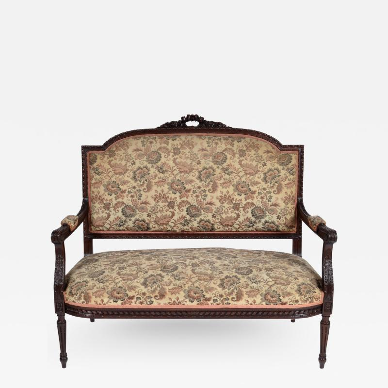 19TH CENTURY FRENCH LOUIS XVI SETTEE UPHOLSTERED WALNUT