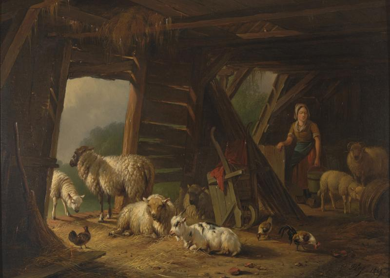 19th C Romanticism Genre Painting Pieter Plas Sheepstable Signed