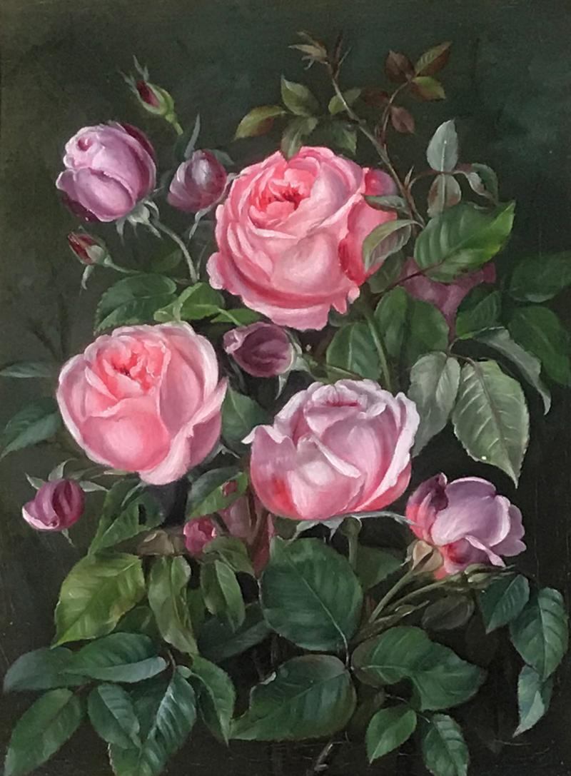 19th Century Danish Painter Pink Roses Unsigned