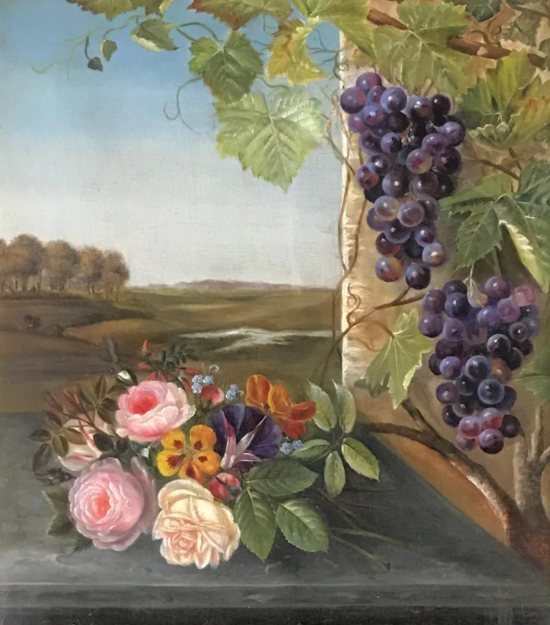 19th Century Danish School Still Life Flowers Grapes Unsigned