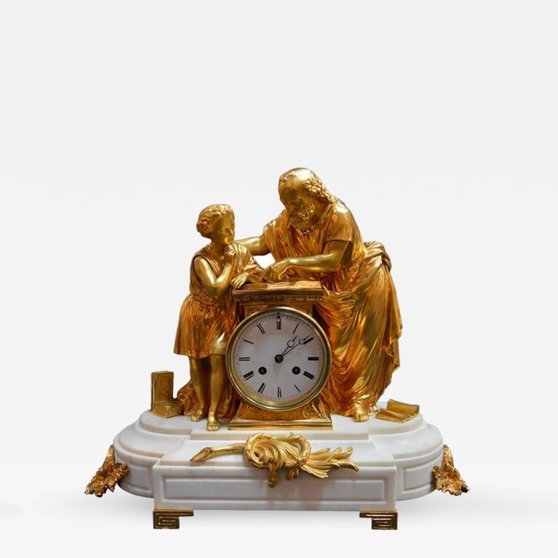 19th Century French Dore Bronze and White Marble Figural Clock