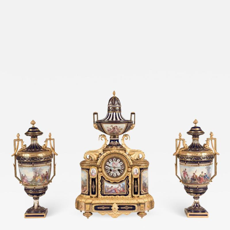 19th Century French Louis XVI Clock Garniture with S vres Porcelain and Ormolu