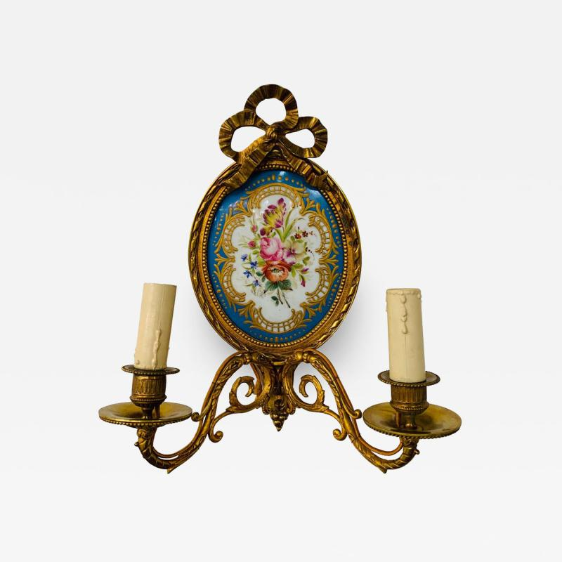 19th Century French Ormolu Wall Sconce with Limoges Porcelain