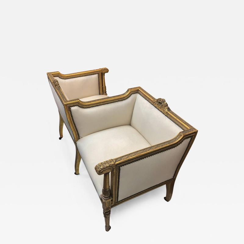 19th Century French Vis a vis Giltwood Chair in Ivory Linen