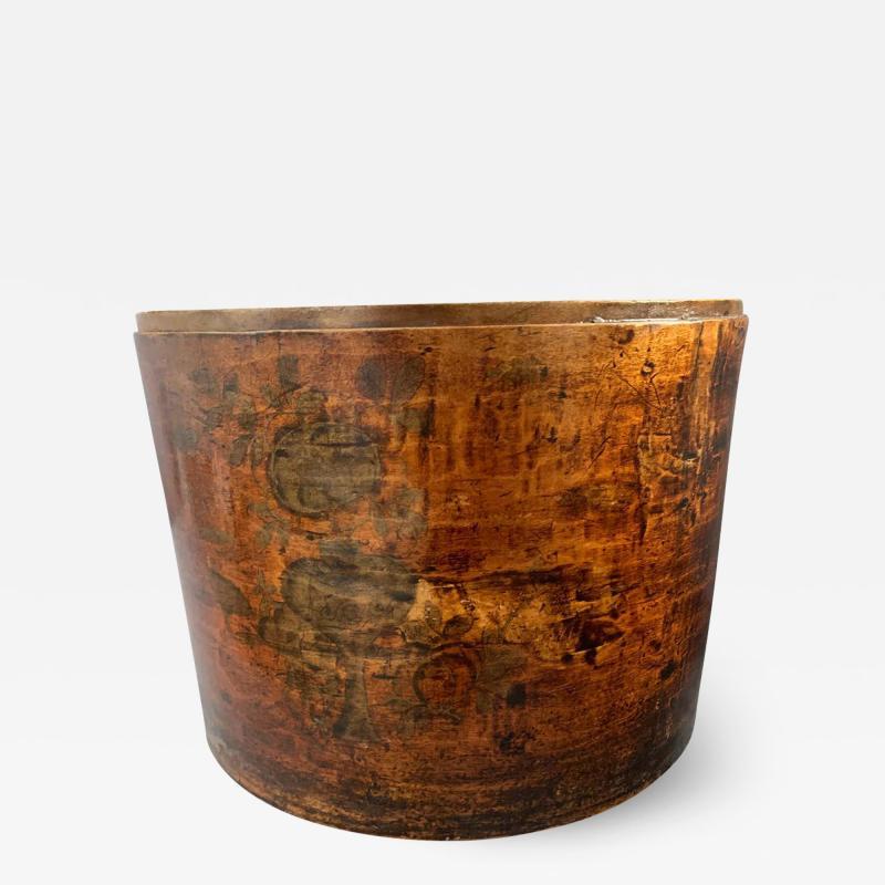 19th Century Handmade Wooden Chinese Hat Box