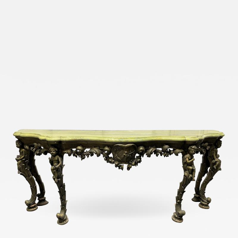 19th Century Italian Carved Wood Marble Top Console with Puttis