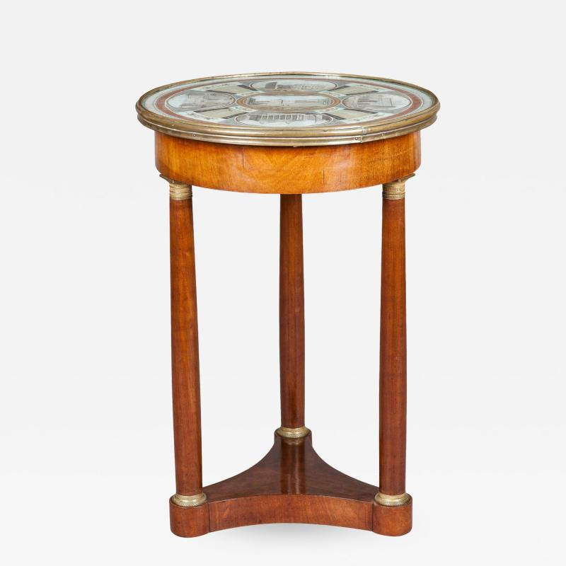 19th Century Italian Table of Mahogany and Painted Architectural Scenes of Rome