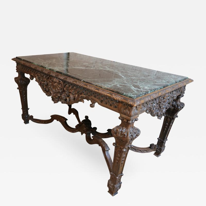 19th Century Louis XIV Italian Console Table with Green Marble Top