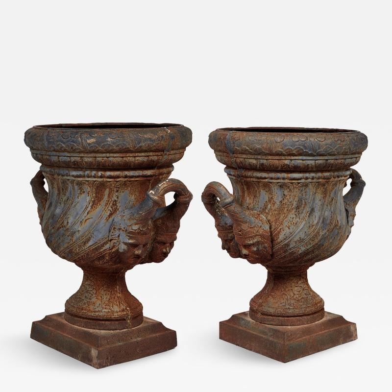 19th Century Pair of Iron Garden Urns