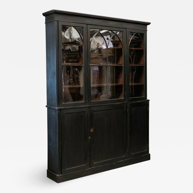 19thC Ebonised Mahogany Arched Glazed Bookcase